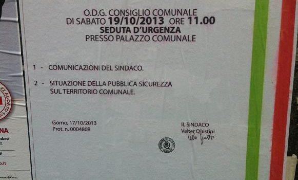 GORNO: CONSIGLIO COMUNALE D'URGENZA