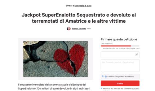 Petizione online: la richiesta del web di devolvere il jackpot del Superenalotto alla terre terremotate