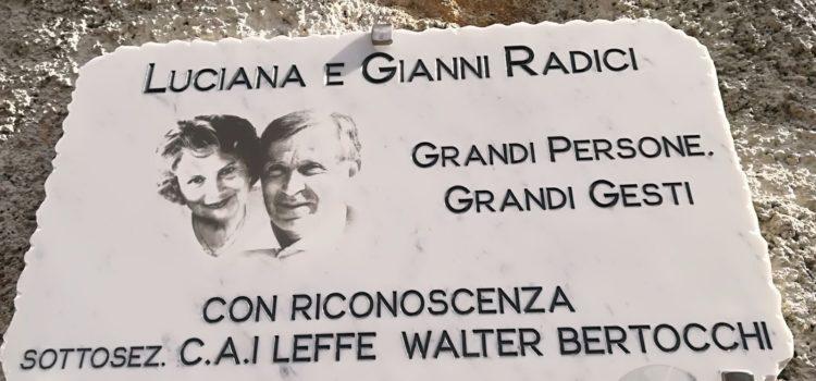 """""""Grandi persone, grandi gesti"""": il CAI Leffe ricorda Gianni e Luciana Radici"""
