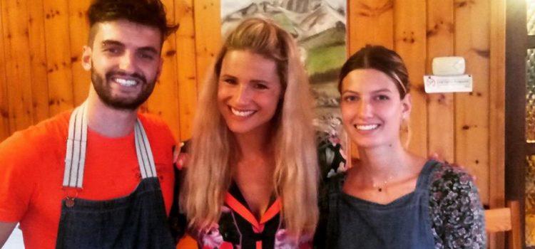 Michelle Hunziker e Tomaso Trussardi in visita al rifugio San Lucio a Clusone