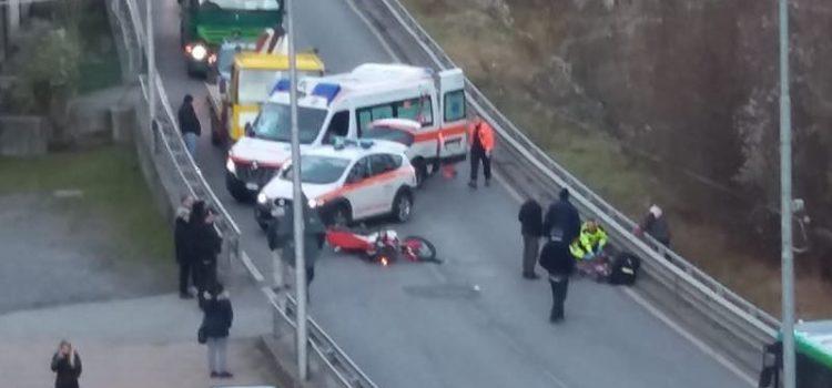 Incidente auto moto a Ponte Nossa, ferito 45enne