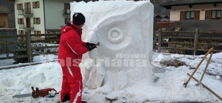 Valbondione, gli animali delle Orobie nelle sculture di neve