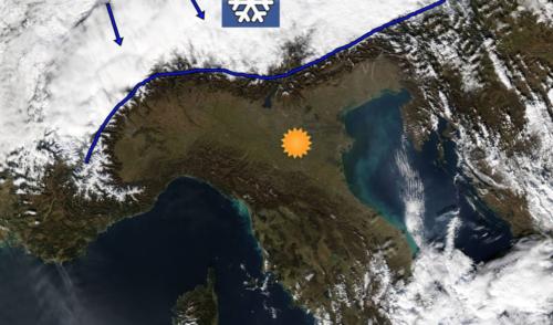 Neve si, ma solo oltre le Alpi – La foto dal satellite