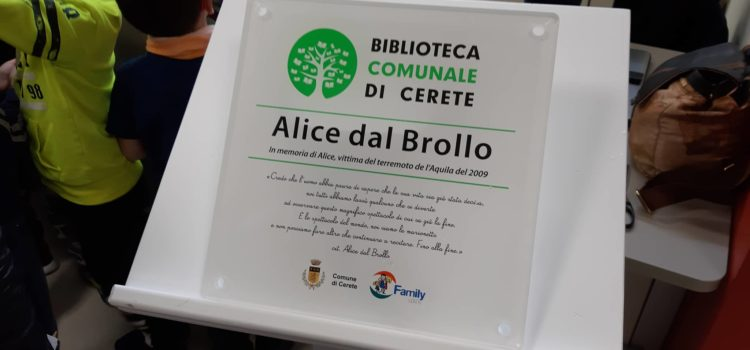 A 10 anni da l'Aquila, biblioteca di Cerete intitolata ad Alice – foto e video