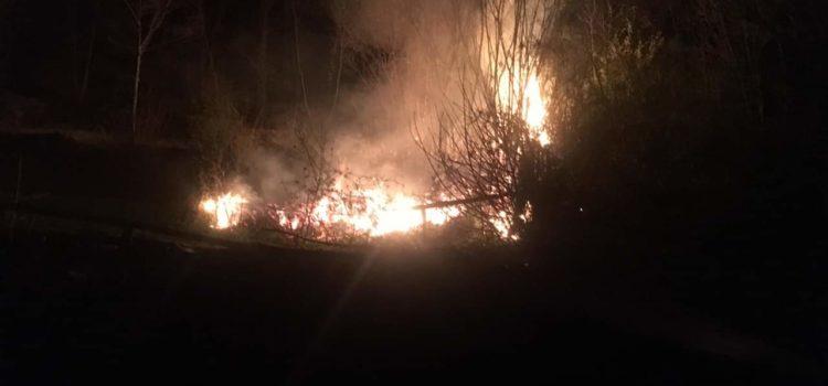Incendio boschivo all'alba in Val del Lujo