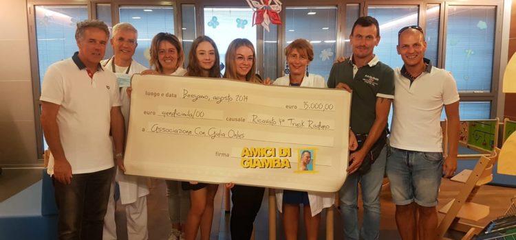 """Gli """"Amici di Giamba"""" donano 15mila euro all'Oncoematologia Pediatrica"""