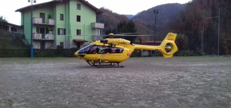 Cade da un albero a Oneta, trasportato in ospedale dall'elicottero
