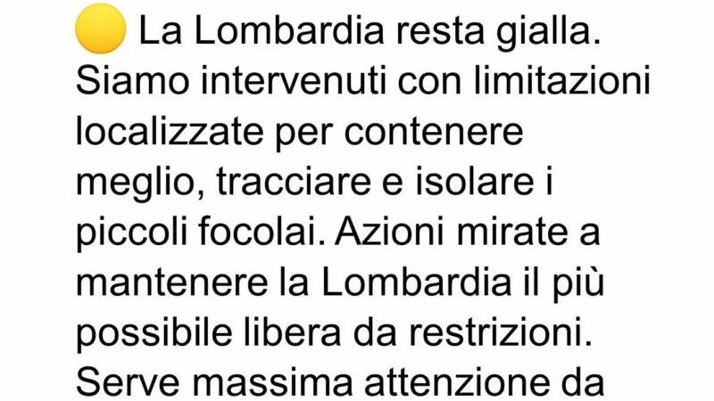 La Lombardia resta zona gialla